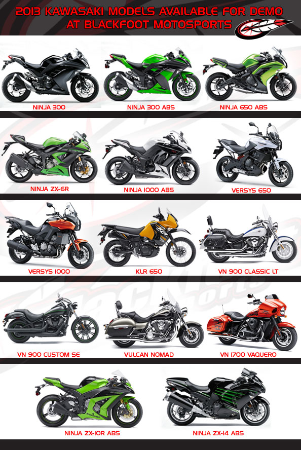 2013 Kawasaki demo models