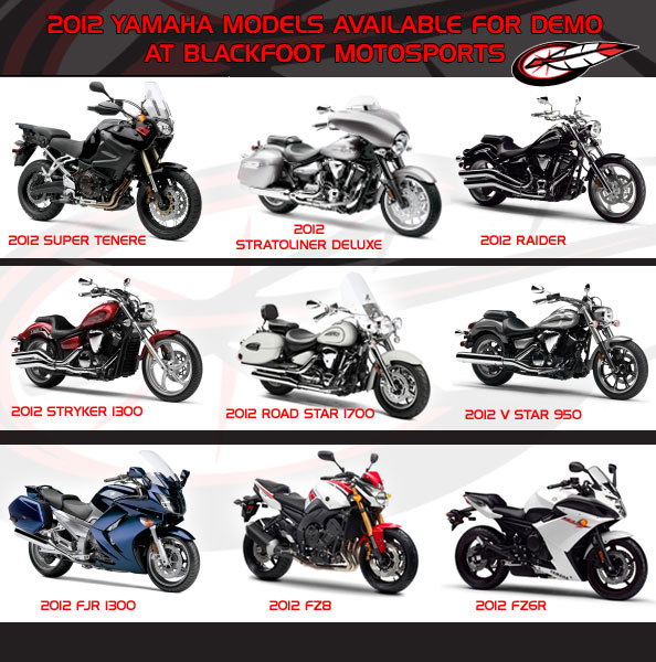2012 Yamaha demo models
